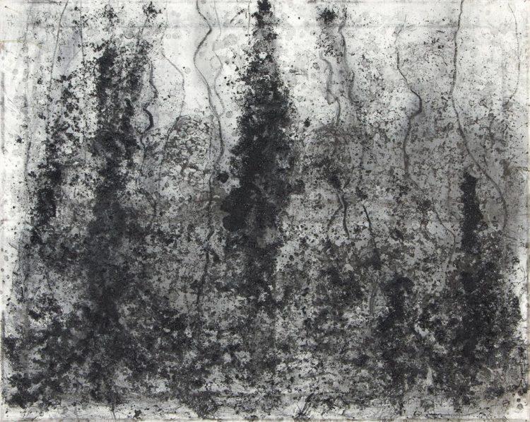 Krajina, 2017, oglje na platno, 80x100
