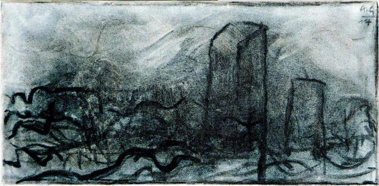 Skica / Sketch, 2014, oglje, platno / charcoal, canvas, 20 x 40 cm