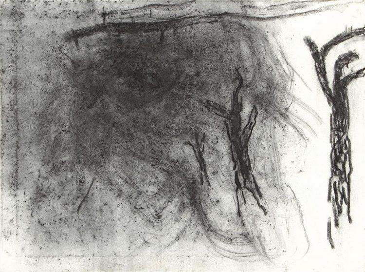 Landscape, 2017, oglje, platno / charcoal, canvas, 190 60 x 80 cm
