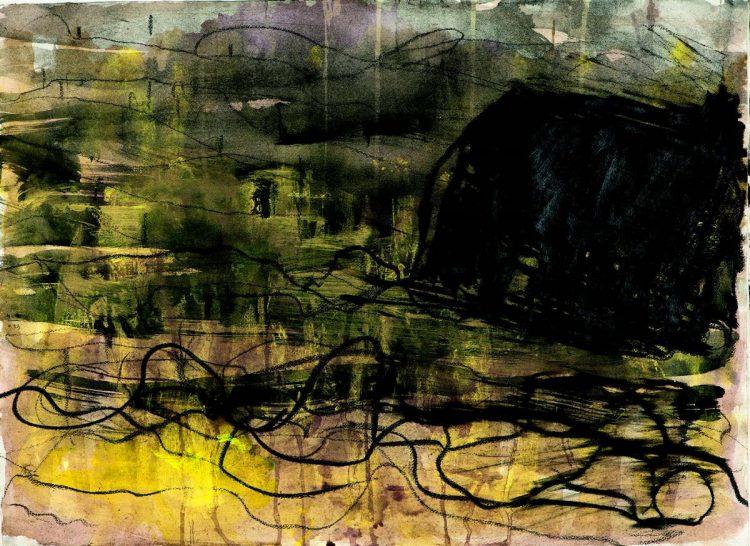 Krajina / Landscape, 2013, mešana tehnika, papir / mixed media, paper, 50 x 67 cm