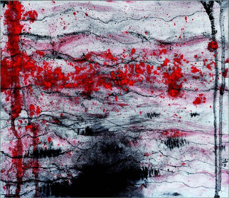 Requiem za Johnna Johannssona, 2018, mešana tehnika, papir / mixed media, paper, 30 x 35 cm