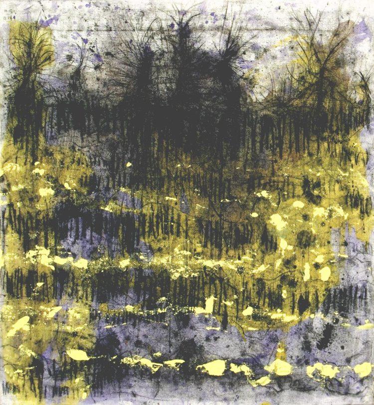 Krajina, 2014, oglje-akril na platno, 92x85
