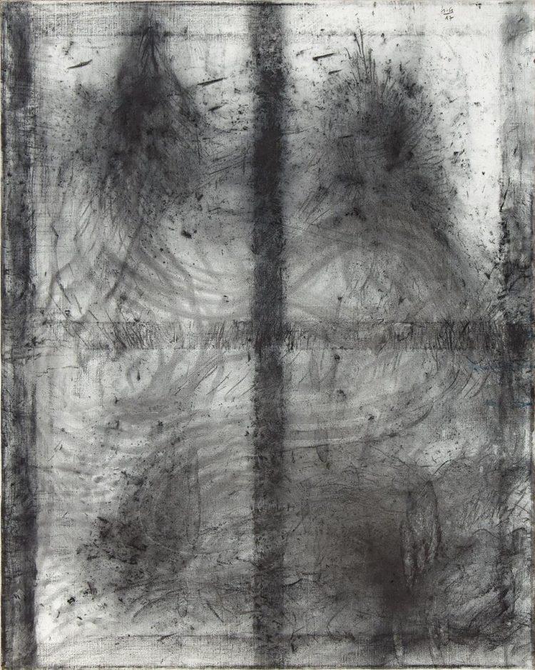 Krajina, 2017, oglje-akril na platno, 100x80