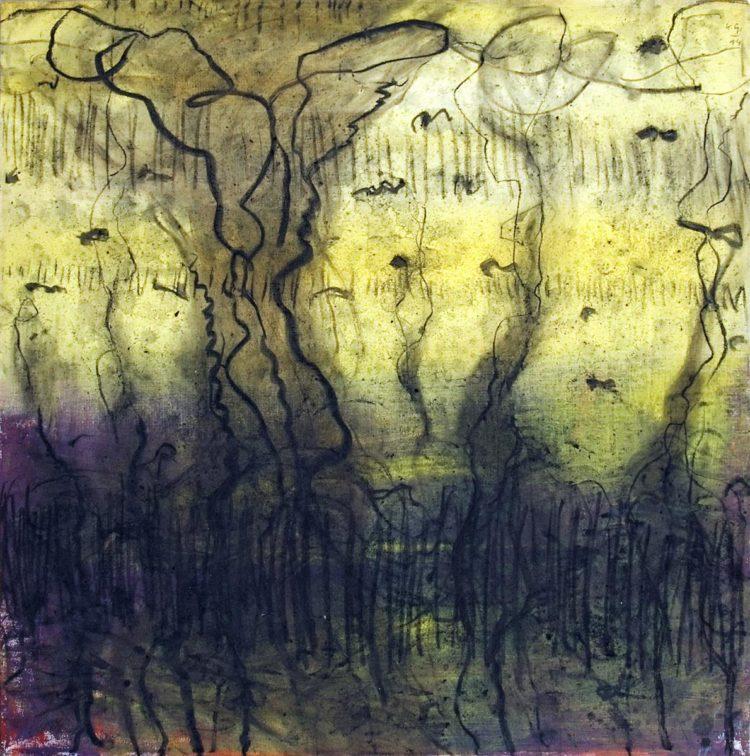 Krajina, 2014, oglje-akril na platno, 90x90