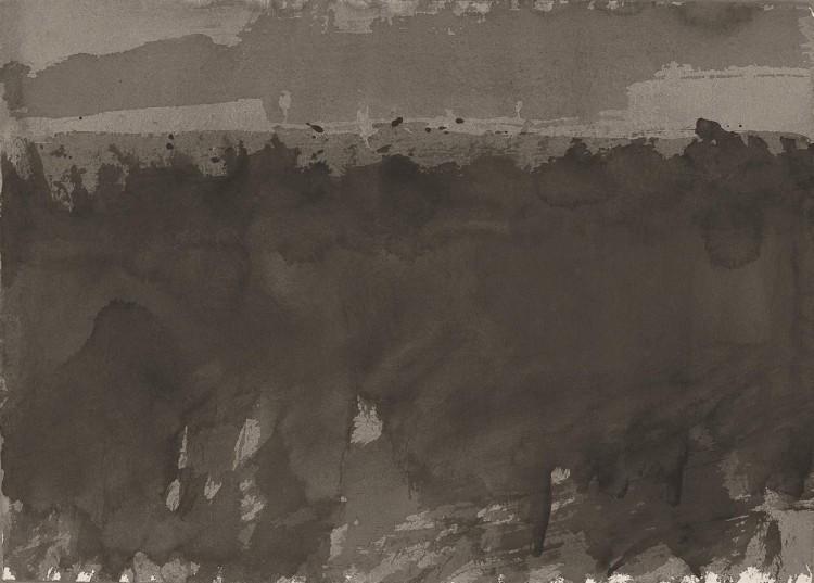 Označitev neke krajine / A Landscape Marked / Kennzeichnung einer Landschaft, 1981, akvarel / watercolour / Aquarell, 43 x 59,5 cm