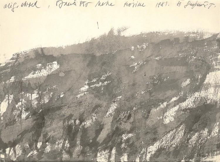 Označitev neke krajine / A Landscape Marked / Kennzeichnung einer Landschaft, 1981, akvarel / watercolour / Aquarell, 51 x 70 cm