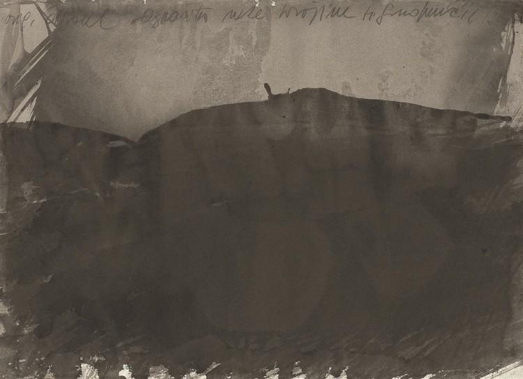 Označitev neke krajine / A Landscape Marked / Kennzeichnung einer Landschaft, 1981, akvarel / watercolour / Aquarell, 43 x 59 cm