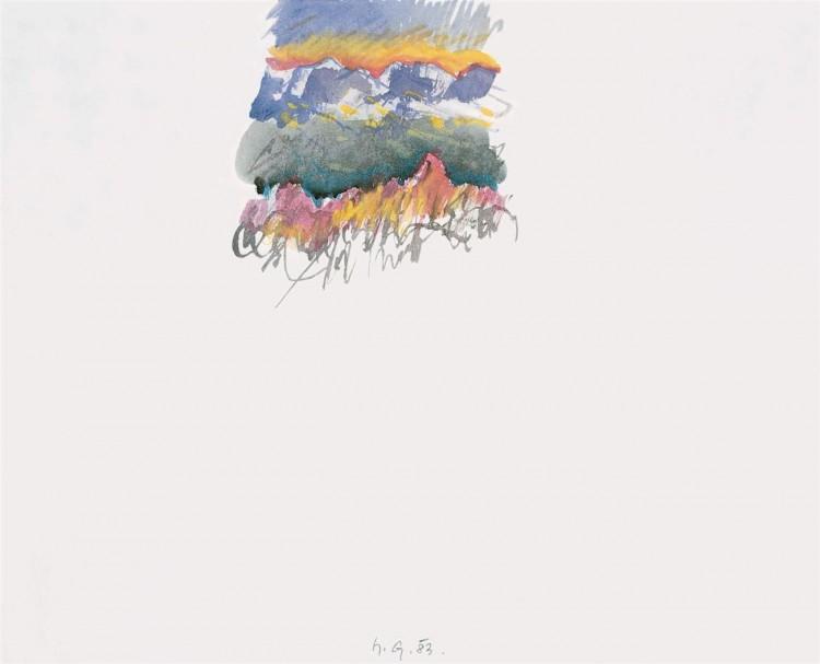 Krajina / Landscape / Landschaft, 1983, akvarel / watercolour / Aquarell, 40 x 32 cm