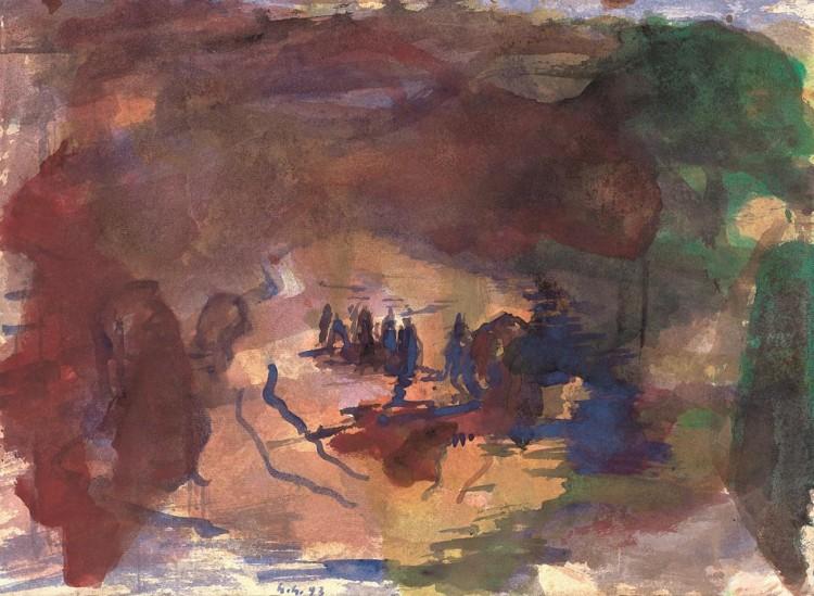 Povratek iz prihodnosti / Back From the Future / Zurück aus den Zukunft, 1993, akvarel / watercolour / Aquarell, 32,5 x 44 cm