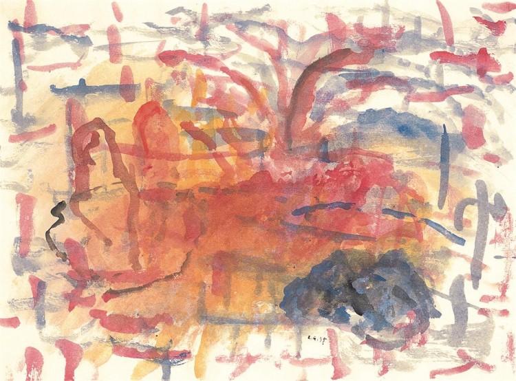 Krajina / Landscape / Landschaft, 1995, akvarel / watercolour / Aquarell, 49 x 67 cm