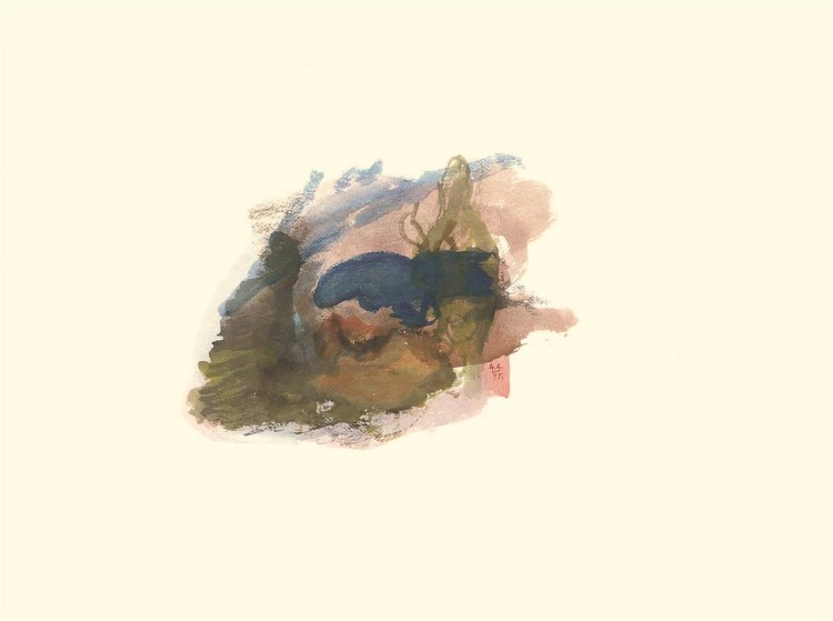 Kostanjevica, 1995, akvarel / watercolour / Aquarell, 50 x 68 cm