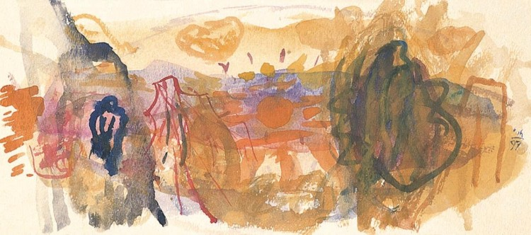 Kobilje, 1997, akvarel/ watercolour / Aquarell, 12,5 x 29 cm