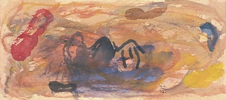 Kobilje, 1997, akvarel / watercolour / Aquarell, 13 x 30 cm