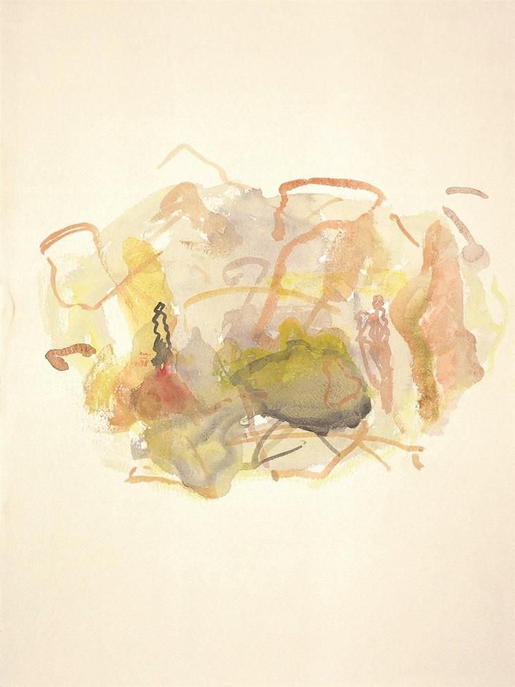 Črno jezero, 1998, akvarel / watercolour / Aquarell, 76 x 57 cm