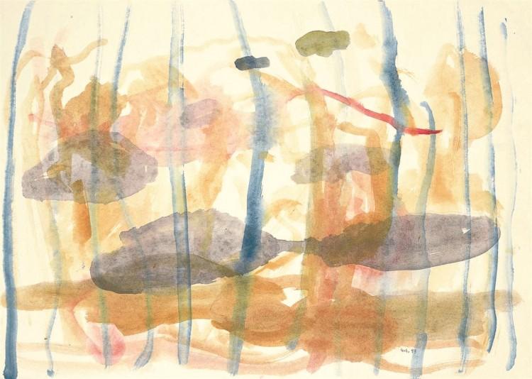 Krajina / Landscape / Landschaft, 1999, akvarel / watercolour / Aquarell, 57 x 80 cm
