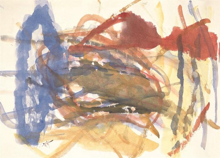 Krajina / Landscape / Landschaft, 1999, akvarel / watercolour / Aquarell, 35,5 x 49 cm