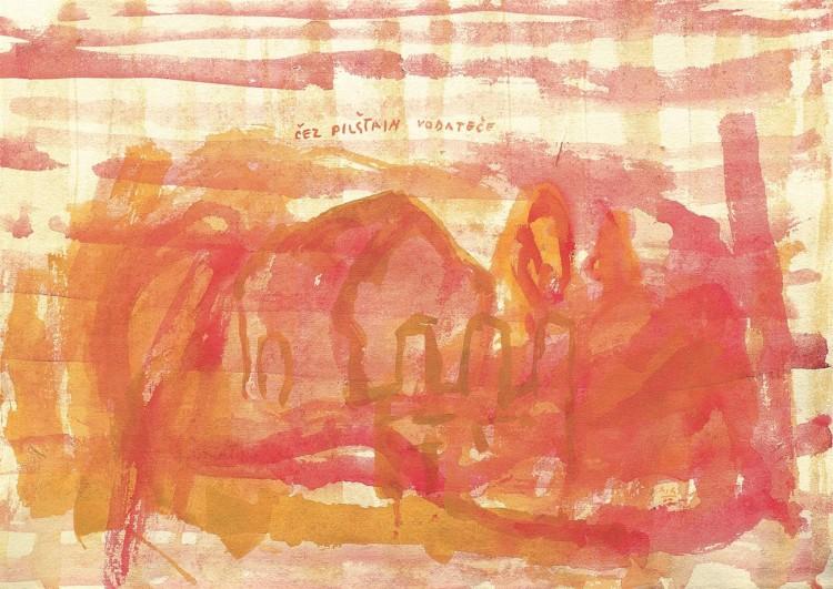 Čez Pilštajn..., 2002, akvarel / watercolour / Aquarell, 46 x 60 cm