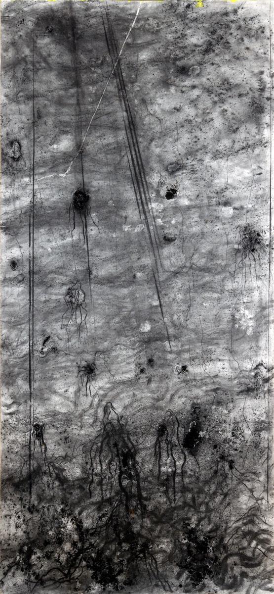 Fordlandija, 2018, oglje na platno, 210x110 cm