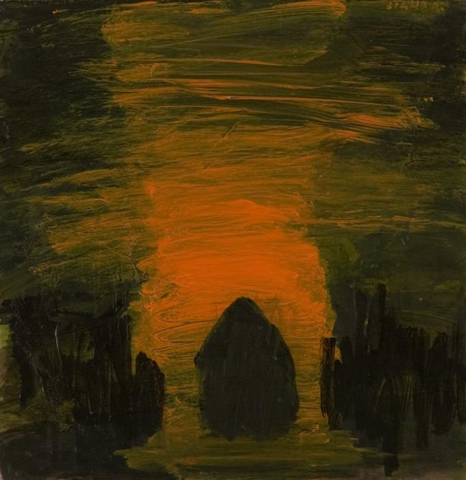Sigur Ros; 2009; akril, les / acrylic, wood / Acryl, Holz; 47 x 49 cm