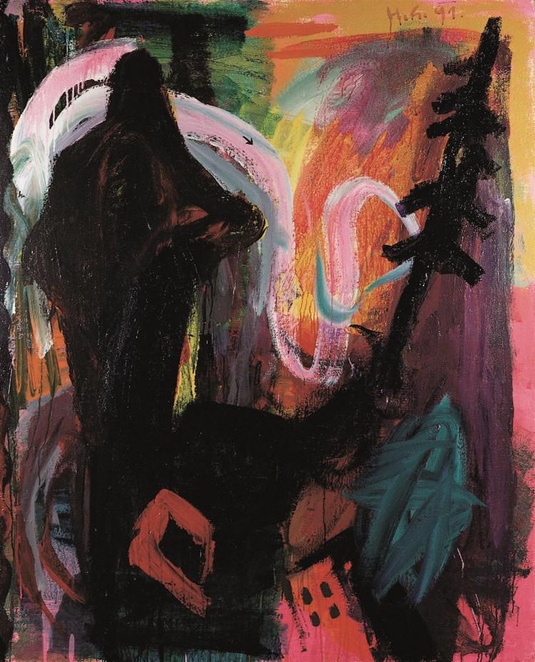Zgodba za M.D. (končna verzija) / Story for M.D. (final version) / die Geschichte für M.D. (Endversion), 1991, akril, platno / acrylic, canvas / Acryl, Leinwand, 180 x 145 cm