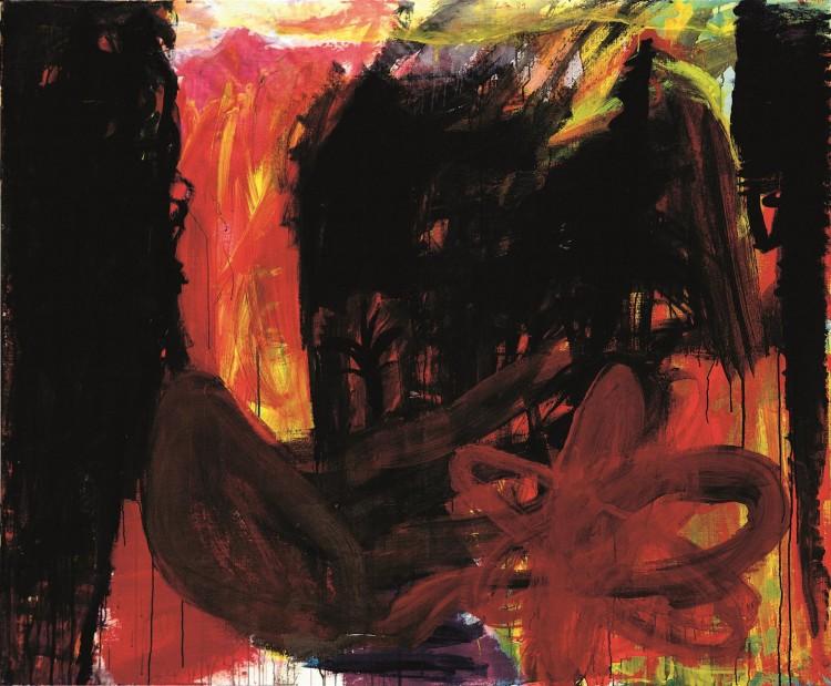 Krajina / Landscape / Landschaft, 1991, akril, platno / acrylic, canvas / Acryl, Leinwand, 166 x 202 cm