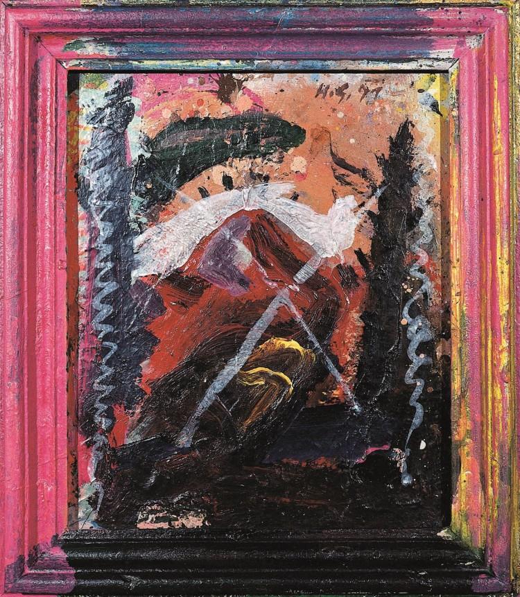 Krajina / Landscape / Landschaft, 1991, akril, ultrapas / acrylic, formica / Acryl, Ultrapas, 48 x 42 cm