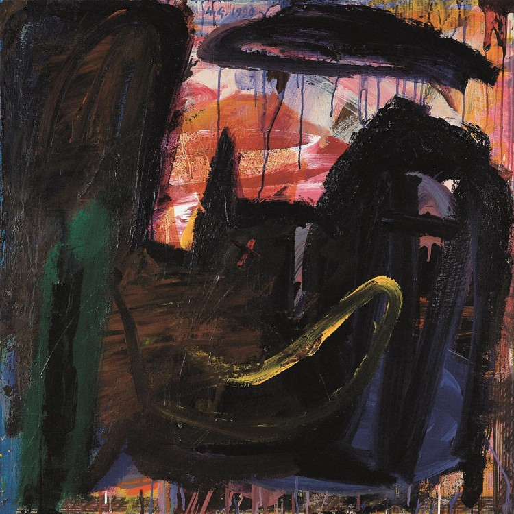 Krajina / Landscape / Landschaft, 1991, akril, platno / acrylic, canvas / Acryl, Leinwand, 70 x 70 cm