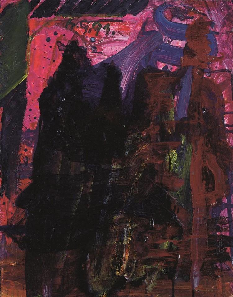 Krajina (končna verzija) / Landscape (final version) / Landschaft (Endversion), 1991, akril, platno / acrylic, canvas / Acryl, Leinwand, 48,5 x 42,5 cm