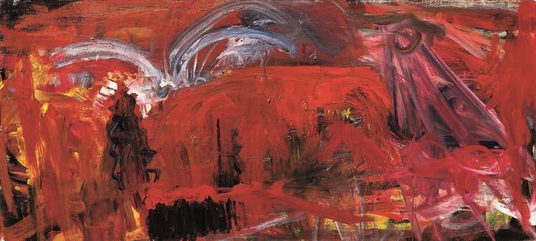 Krajina / Landscape / Landschaft, 1992, akril, platno / acrylic, canvas / Acryl, Leinwand, 90 x 200 cm