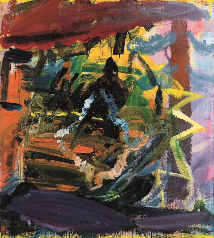 Krajina / Landscape / Landschaft, 1992, akril, platno / acrylic, canvas / Acryl, Leinwand, 151 x 135 cm