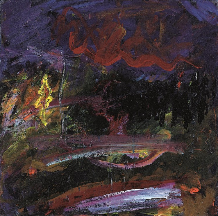 Krajina / Landscape / Landschaft, 1993, akril, platno / acrylic, canvas / Acryl, Leinwand, 40 x 40 cm