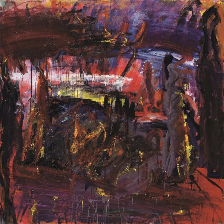 Krajina / Landscape / Landschaft, 1993, akril, platno / acrylic, canvas / Acryl, Leinwand, 200 x 200 cm