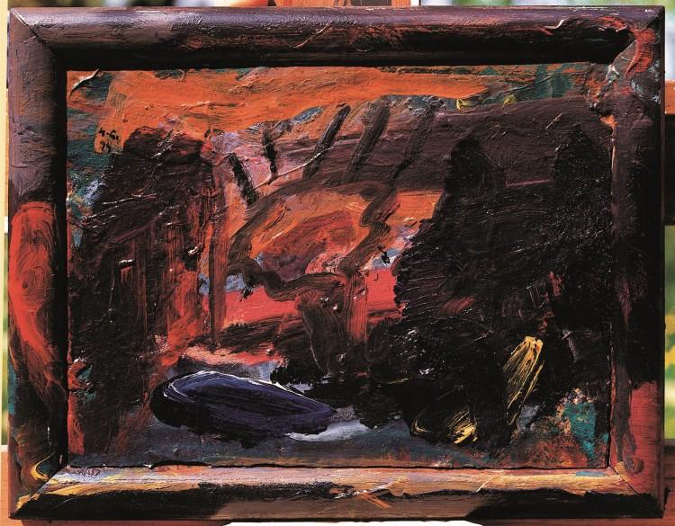 Krajina / Landscape / Landschaft, 1994, akril, ultrapas / acrylic, formica / Acryl, Ultrapas, 22,5 x 28,5 cm