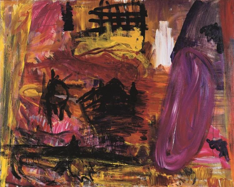 Krajina / Landscape / Landschaft, 1994, akril, platno / acrylic, canvas / Acryl, Leinwand, 120 x 150 cm