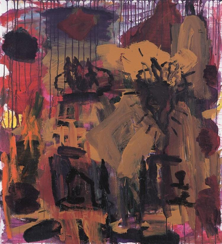 Krajina / Landscape / Landschaft, 2000, akril, platno / acrylic, canvas / Acryl, Leinwand, 105 x 96 cm
