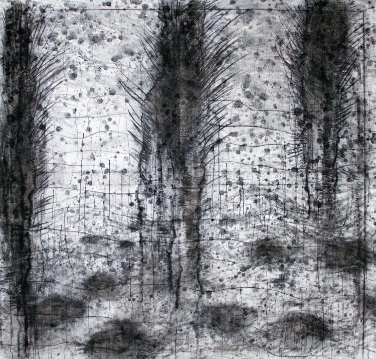 Viharniki, 2014, 180 x 180, oglje na platno