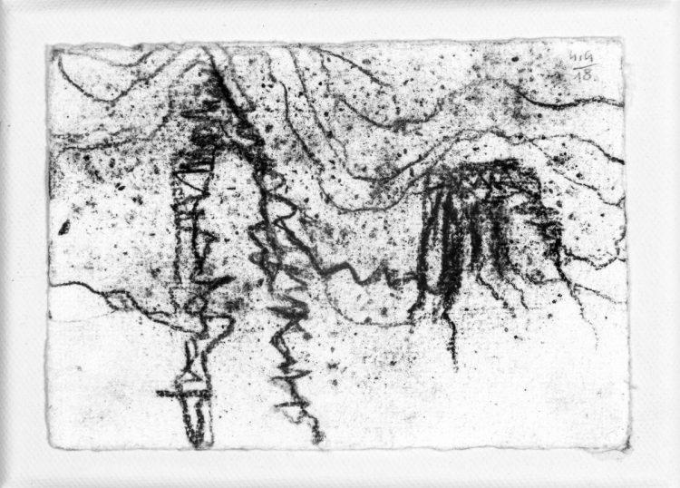 skica (homage za Johana Johanssona), 10x15cm, oglje na platnu, 2018