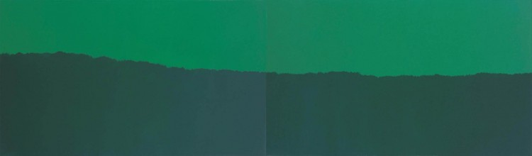 Horizont / Horizon / Horizont, 1975, akril, platno / acrylic, canvas / Acryl, Leinwand 120 x 400