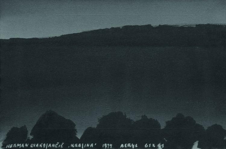 Krajina / Landscape / Landshaft; 1977; akril, platno / acrylic, canvas / Acryl, Leinwand; 61 x 91 cm