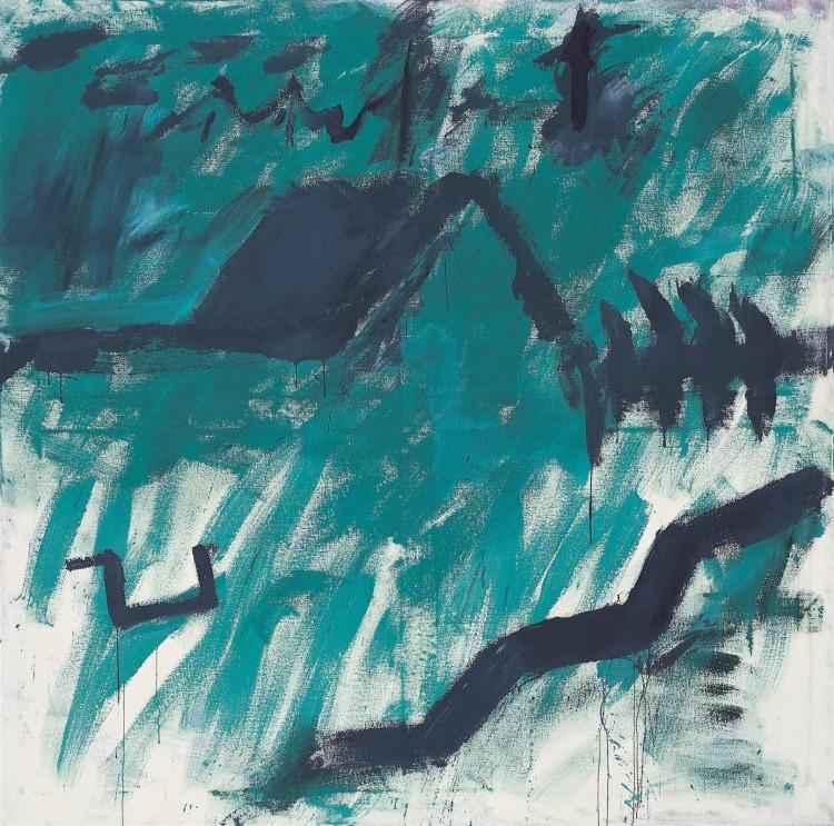 Krajina / Landscape / Landschaft, 1983, akril, platno / acrylic, canvas / Acryl, Leinwand, 180 x 180 cm