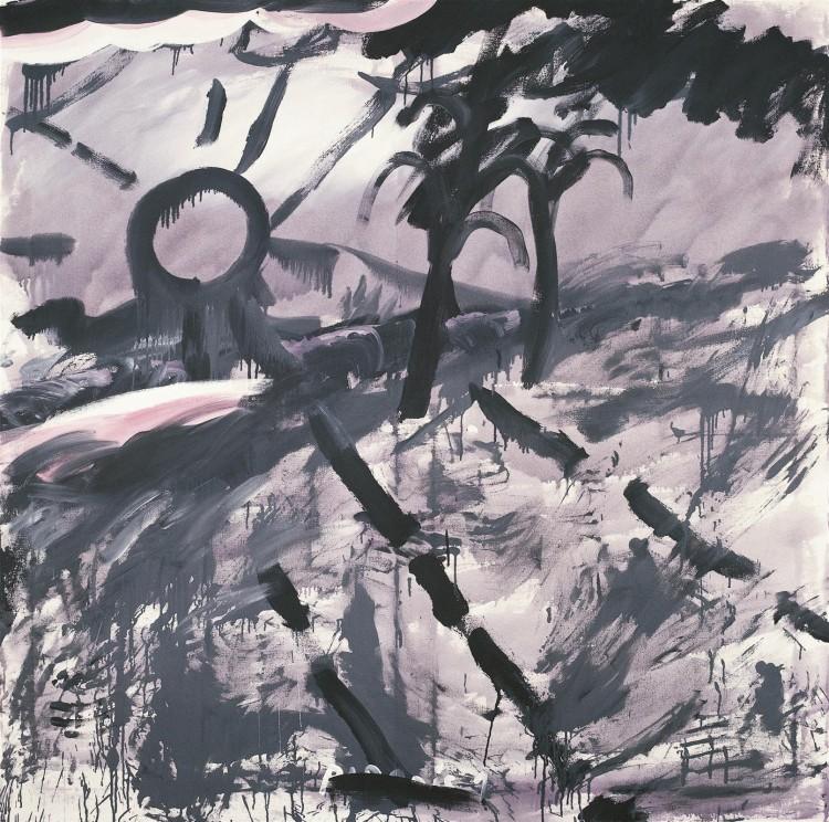 Sivo sonce / Gray Sun / Graue Sonne, 1984, akril, platno / acrylic, canvas / Acryl, Leinwand, 180 x 180 cm