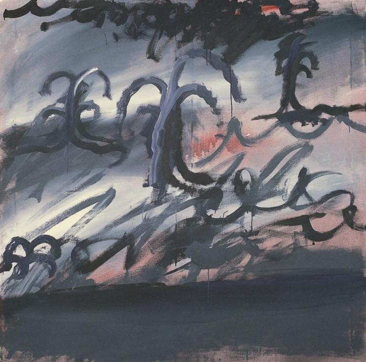 Krajina (verzija l) / Landscape (version l) / Landschaft (Version l) , 1984, akril, platno / acrylic, canvas / Acryl, Leinwand, 180 x 180 cm