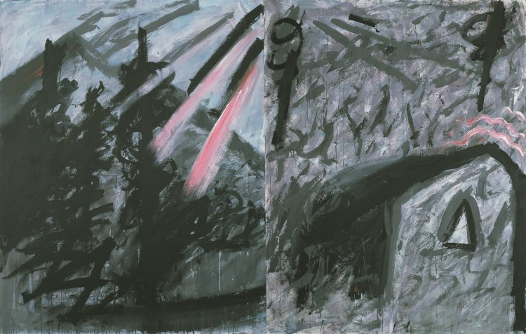 Reminiscence / Reminiscences / Reminiszenzen, 1985, akril, platno / acrylic, canvas / Acryl, Leinwand, 185 x 290 cm
