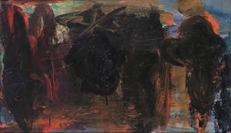 Krajina / Landscape / Landschaft, 1989, akril, platno / acrylic, canvas / Acryl, Leinwand, 44 x 75 cm
