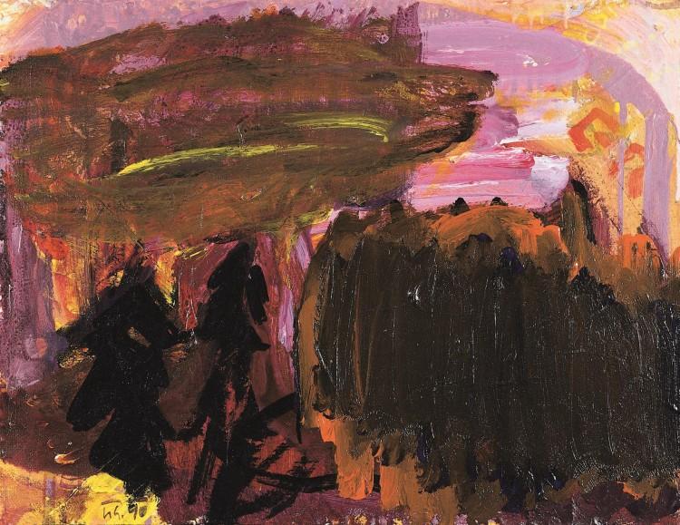 Krajina / Landscape / Landschaft, 1990, akril, platno / acrylic, canvas / Acryl, Leinwand, 55 x 66 cm