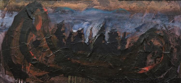 Krajina / Landscape / Landschaft, 1990, akril, platno / acrylic, canvas / Acryl, Leinwand, 52 x 112 cm