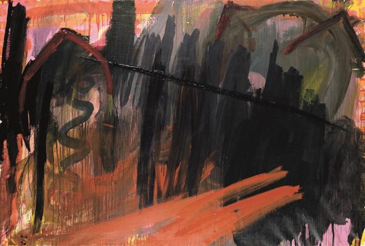 Krajina / Landscape / Landschaft, 1990, akril, platno / acrylic, canvas / Acryl, Leinwand, 136 x 200 cm