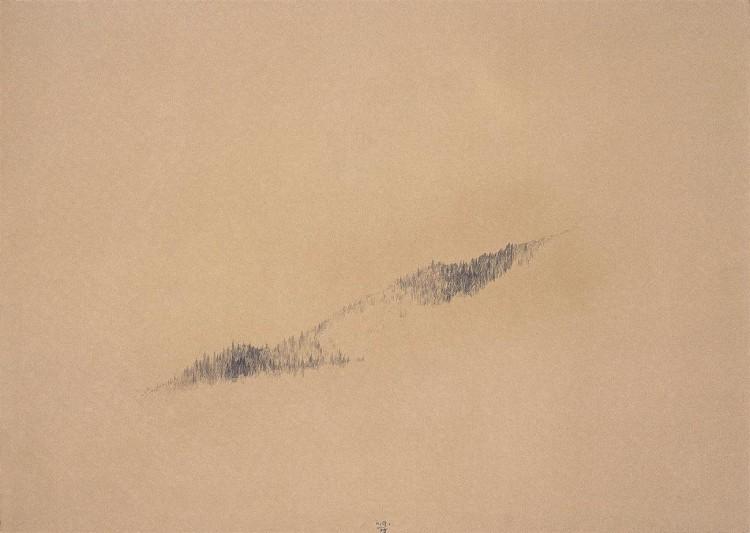 Krajina / Landscape / Landschaft, 1975, grafit, papir / graphite, paper / Grafit, Papier, 50 x 70 cm