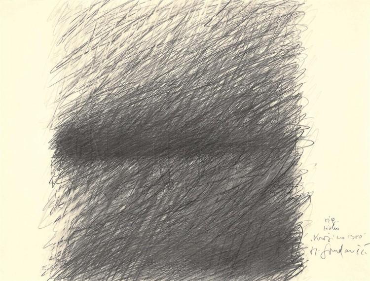 Krajina / Landscape / Landschaft, 1980, grafit, papir / graphite, paper / Grafit, Papier, 48 x 63 cm