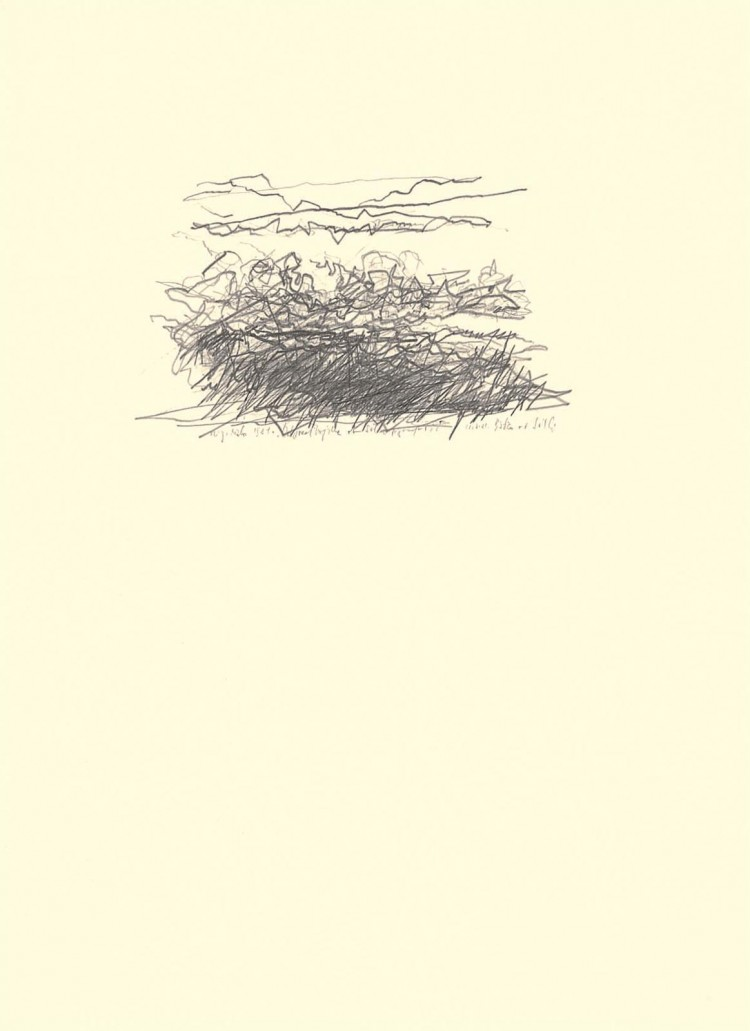 Sveta Trojica ob Sotli, 1981, grafit, papir / graphite, paper / Grafit, Papier, 69 x 50 cm